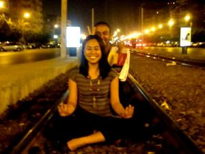 yoga on the train tracks while karim is ruining my concentration