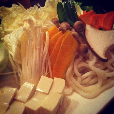 The vegetables for the shabu shabu.