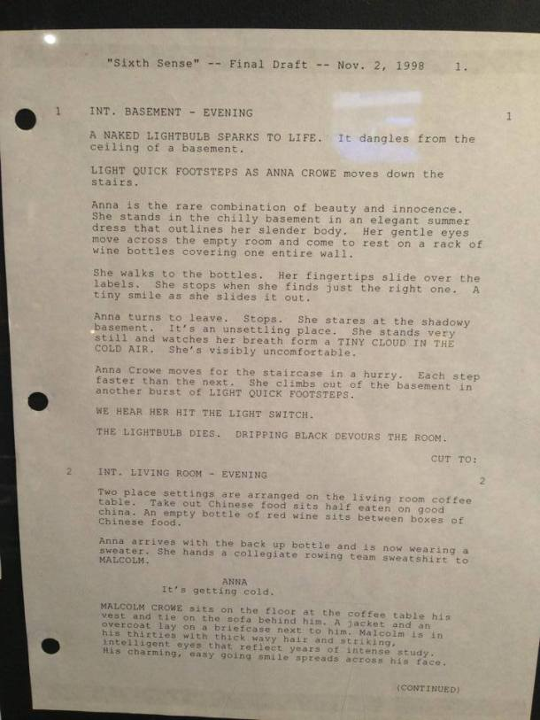 Script of the first scene in Sixth Sense