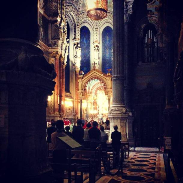 Inside the Basilica, during a 6pm mass.
