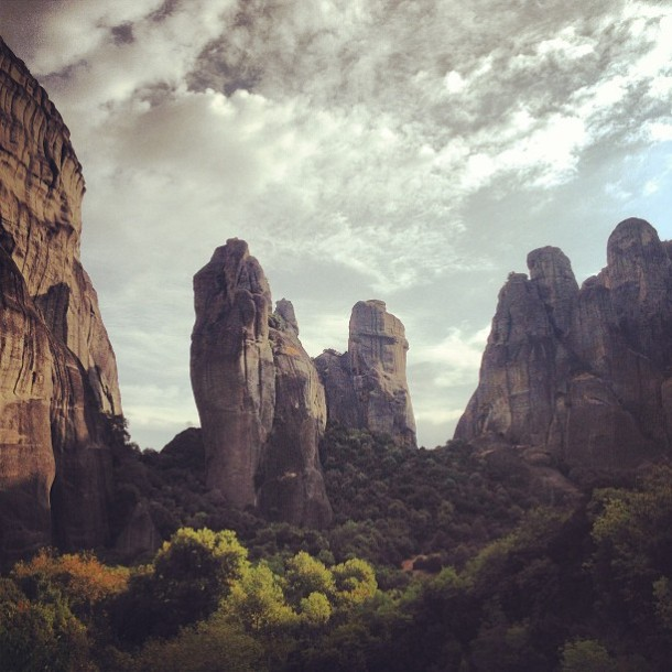 The rock formations of Meteora.