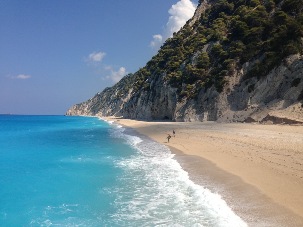 Eggremni Beach in Lefkada which can only be accessed by boat or the 300 steps which is quite a hike.
