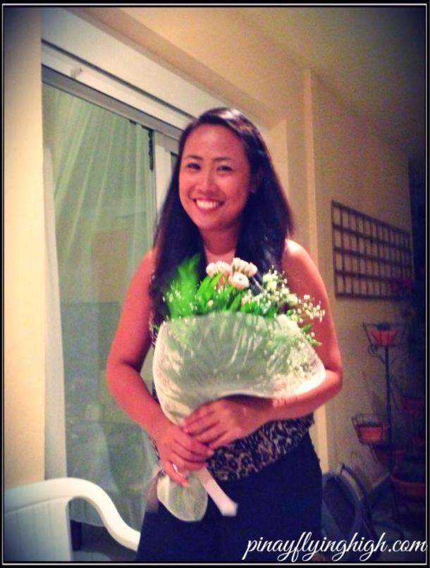 Yaiya's bouquet of flowers and myself. :)